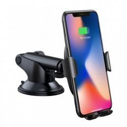 Suport telefon auto cu incarcare wireless si brat ajustabil, Baseus, montabil cu ventuza, negru