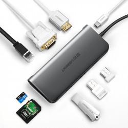 Adaptor 9in1 UGREEN USB-C la HDMI 4K, 3x USB 3.0, tip-C PD, RJ45, SD, Micro SD, VGA