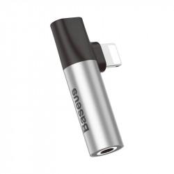 Adaptor Audio Baseus L43 Lightning la Mini Jack 3.5mm + Lightning , gri