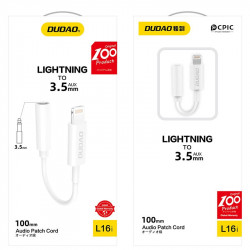 Adaptor jack 3.5mm DUDAO, conectivitate Lightning - alb