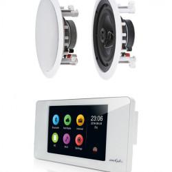 Amplificator de perete cu touchscreen 2x20W DSPPA DM838 cu Wi-Fi, BT + 2 Boxe de tavan Hi-Fi Inakustik Ambientone R1