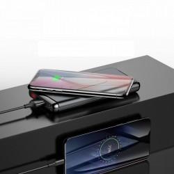 Baterie externa cu functie de stand ce suport incarcare wireless, Baseus Wifi Charger, 10000 mAh, 15W ,USB-C PD + Quick Charge 3.0 , negru