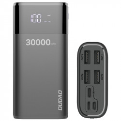 Baterie externa Dudao Power Bank 4x USB 30000mAh cu display 4A black (K8Max black)