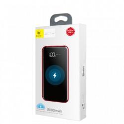 Baterie externa/Power bank cu incarcare Wireless si stand telefon , Baseus Bracket 8000 mAh , rosu
