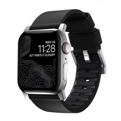 Bratara din piele hidrofoba Nomad Active Pro Negru complet - Apple Watch 44/42 mm , silver