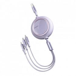 Cablu 3 in 1 retractabil, Baseus Bright Mirror USB - USB Type C / Lightning / micro USB 3,5 A 1,2 m violet (CAMLT-MJ05)