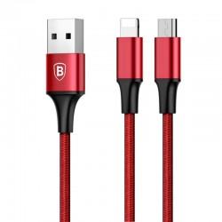 Cablu de date 2 in 1 Baseus Rapid 2in1 USB cable Lightning / micro USB 3A 1.2m rosu