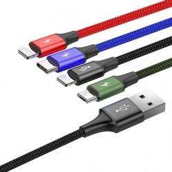 Cablu de date 4 in 1 , Baseus Lightning / USB Type C / 2x micro USB , 3.5A , 1.2M , negru
