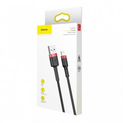 Cablu Lightning pentru iPhone, QC3.0 , 2.4A , 1M, BASEUS Cafule Durable Nylon, negru+rosu