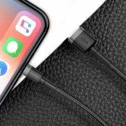 Cablu Lightning pentru iPhone, QC3.0 , 2.4A , 2M, BASEUS Cafule Durable Nylon, negru+gri