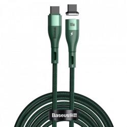 Cablu magnetic Baseus Zinc USB Type C - Type C, Power Delivery 100W 1.5m green (CATLXC-01)
