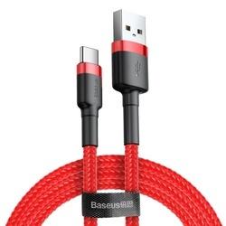 Cablu Type C , QC3.0 , 2.4A , 2M, BASEUS Cafule Durable Nylon, rosu