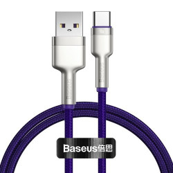 Cablu USB tip C Baseus Cafule Series Metal Data USB - 40 W (10 V / 4 A) SCP (Protocol Huawei SuperCharge) 1 m violet