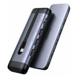 Hub UGREEN 5 în 1 CM287 USB-C la HDMI, 2x USB 3.0, USB-C PD 3.0, SD / TF, adaptor RJ45
