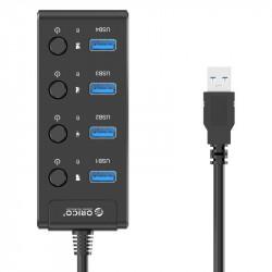 Hub USB 3.0. Orico cu comutatoare, 5x USB (negru)