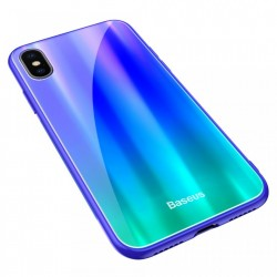 Husa telefon, Baseus Laser Luster, pentru iPhone X, cu margini din silicon si spate din sticla securizata, albastru+verde