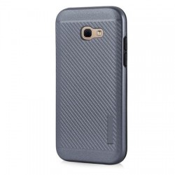 Husa telefon Puky Carbon cu placuta metalica incorporata pentru Samsung Galaxy A3 2017 , gri