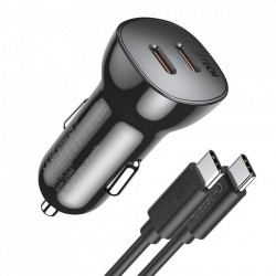 Incarcator auto Choetech 2x USB Type C Quick Charge Power Delivery 40W FCP AFC + USB Type C - USB Type C cable black (TC0008)