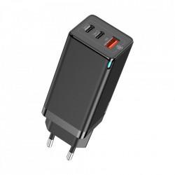 Incarcator priza,Baseus GaN PPS 65W USB / 2x USB tip C încărcare rapidă 3.0 Livrare de putere SCP FCP AFC (azot de galiu) negru (CCGAN-B01)