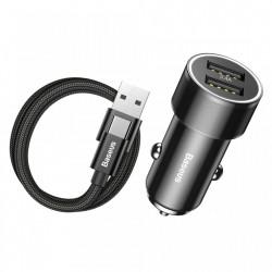 Incarcator telefon auto, Baseus Small Screw, 3.2A, 2 x USB + Cablu Type C 1 metru 2 A, negru