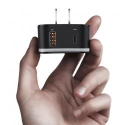 Incarcator telefon retea, Baseus, USB, USB-C, prevazut cu adaptor pentru toate tipurile de prize, negru