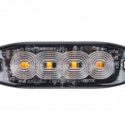 Lampa de avertizare portocalie 4x3W LED R65 R10 12/24V IP68