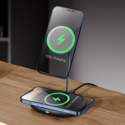 Statie incarcare Baseus, incarcator wireless iPhone 12, negru, WXSW-C01