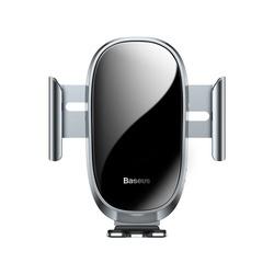 Suport auto din aluminiu si sticla securizata , Baseus Smart cu prindere automata , senzor infrarosu , IOS , Android , gri