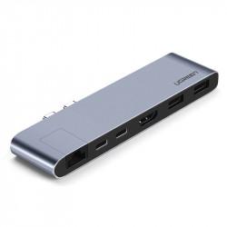 Adaptor 6in1 UGREEN Hub 2x USB-C la 2x USB 3.0 + 2x USB-C + HDMI + RJ45 pentru MacBook Pro