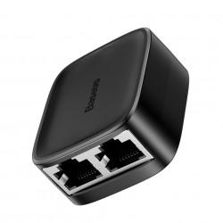 Adaptor Splitter cu 2 intrari de mare viteză Baseus Ethernet Gigabit Network Negru