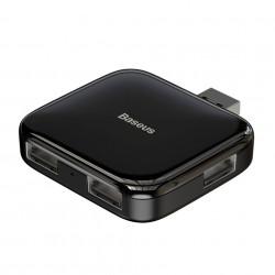 Baseus HUB USB portabil complet pliat 4-în-1 (USB A la USB2.0 * 4 cu alimentare) Negru