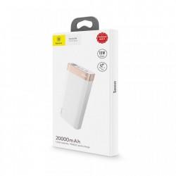Baterie externa Baseus Parallel 20000mAh , 18W , USB Type-C PD + Quick Charge 3.0 porturi QC 3.0 , alba