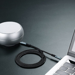 Cablu auxiliar Joyroom stereo AUX 3,5 mm mini jack 1 m black (SY-10A1)