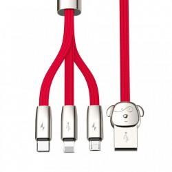 Cablu de date Baseus FuWang - cablu USB cu Micro USB / Lightning / USB-C , 1,2M rosu