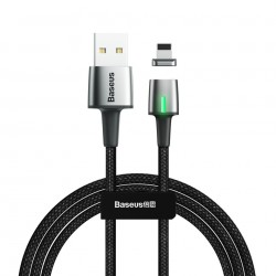 Cablu de date din zinc,magnetic, Baseus USB For Lightning 2.4A 1m Black (CALXC-A01)