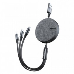 Cablu de date (lightning) si incarcare Baseus Fabric , 1.2 M , retractabil cu 3 capete 1 x USB C , 1 x micro-usb , 1 x lightning , negru