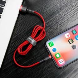 CABLU LIGHTNING PENTRU IPHONE, QC3.0 , 2.4A , 0.5M, BASEUS CAFULE DURABLE NYLON, ROSU
