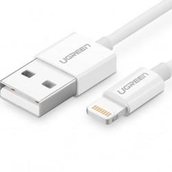 Cablu Lightning placat cu nichel UGREEN MFi 1m cablu (alb)