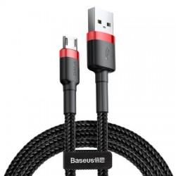 Cablu micro USB QC3.0 2.4A 1M, BASEUS Cafule Durable Nylon, negru + rosu