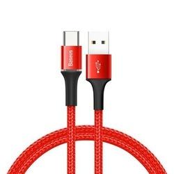 Cablu Type C cu Led , 3A , 0.5M, BASEUS Halo Durable Nylon, rosu