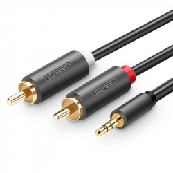 Cablu UGREEN AV102 2x RCA cable (Cinch) jack 3.5 mm, 1.5m (black)