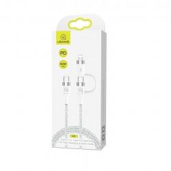 Cablu USAMS Usb-c + lightning 60W 1.2M alb