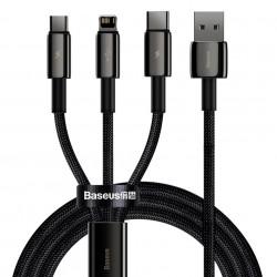 Cablu USB 3in1 Baseus Tungsten Gold, USB la micro USB / USB-C / Lightning, 3,5A, 1,5m (negru)