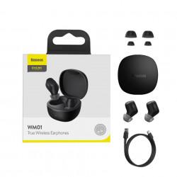 Casti Wireless Baseus Encok TWS WM01, bluetooth 5.0 - negru
