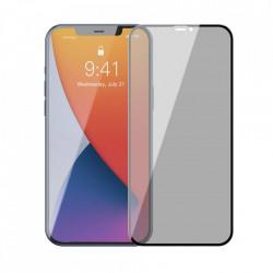 Folie de protectie Baseus 2x Sticla calita 0,23 mm Anti Spy cu cadru pentru intregul ecran iPhone 12 Pro / iPhone 12 Negru (SGAPIPH61P-ATG01)