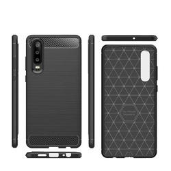 Husa telefon TPU model carbon , Gema Mixt pentru Huawei P30 , negru
