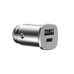 Incarcator Auto Baseus Square QC 4.0 Dual USB + USB-C, gri