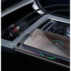Incarcator auto + cablu Type-c la Type-c, Baseus USB / USB Type C 45 W 5 A SCP Quick Charge 4.0+ Power Delivery 3.0 LCD display black (TZCCBX-C0G)