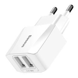 Incarcator de retea pentru telefon Baseus Mini cu 2 iesiri 2.1 A , alb