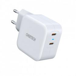 Incarcator priza Choetech Fast 2x USB Type C Power Delivery 40W 3A white (PD6009-EU)